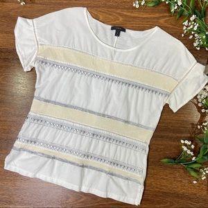 J. Crew | Geometric Striped Metallic White Shirt